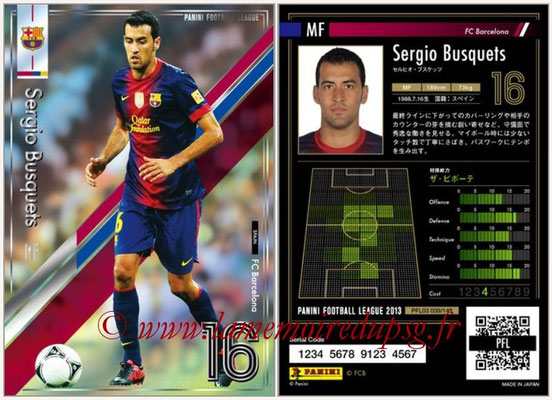 Panini Football League 2013 - PFL03 - N° 039 - Sergio Busquets (FC Barcelone)