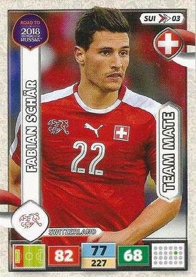 2018 - Panini Road to FIFA World Cup Russia Adrenalyn XL - N° SUI03 - Fabian SCHÄR (Suisse)