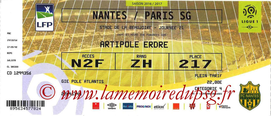 Tickets  Nantes-PSG  2016-17