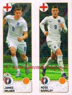Panini Euro 2016 Stickers - N° 153 - James MILNER + Ross BARKLEY (Angleterre)