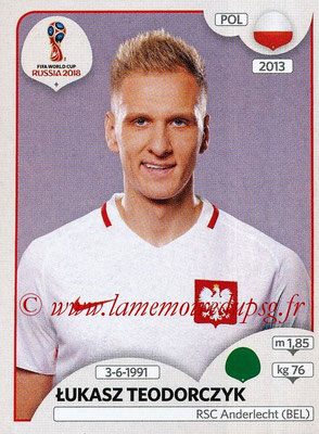 2018 - Panini FIFA World Cup Russia Stickers - N° 610 - Lukasz TEODORCZYK (Pologne)