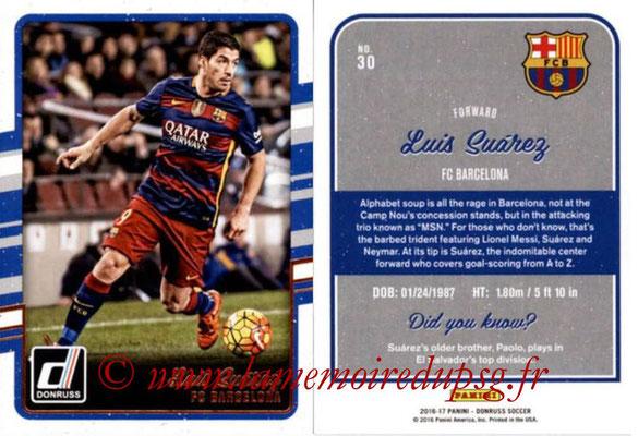 2016 - Panini Donruss Cards - N° 030 - Luis SUAREZ (FC Barcelone)