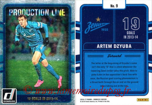 2016 - Panini Donruss Cards - N° PL09 - Artem DZYUBA (FC Zenit) (Production Line)
