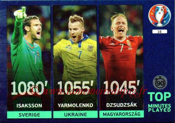 Panini Euro 2016 Cards - N° 015 - Isaksson + Yarmolenko + Dzsudzsak (Top Minutes Played)