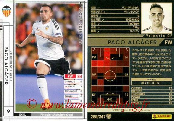 2015-16 - Panini WCCF - N° 285 - Paco ALCACER (Valencia CF)
