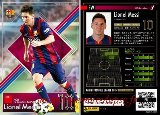 Panini Football League 2015 - PFL11 - N° 031 - Lionel MESSI (FC Barcelone) (Star +)
