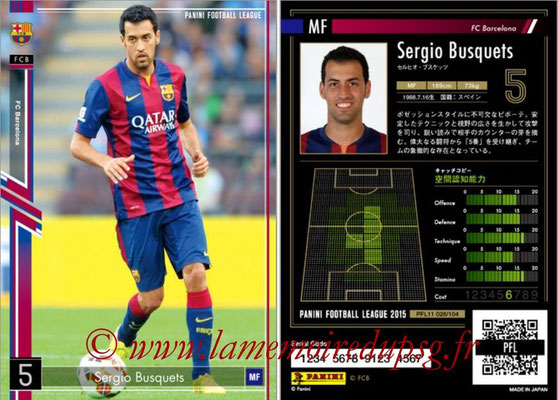 Panini Football League 2015 - PFL11 - N° 028 - Sergio BUSQUETS (FC Barcelone)