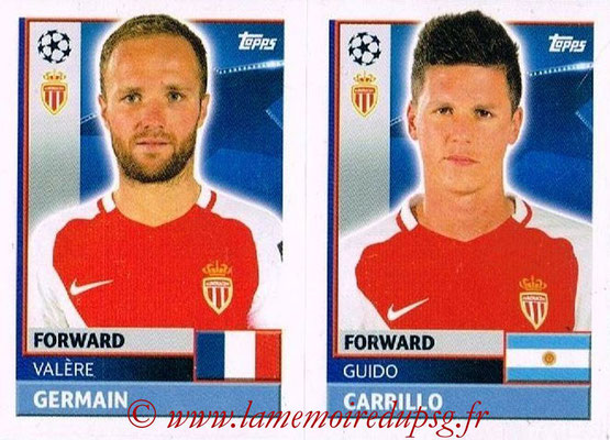 2016-17 - Topps UEFA Champions League Stickers - N° QFH 15-16 - Guido CARRILLO + Valère GERMAIN (AS Monaco)