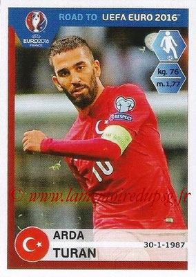 Panini Road to Euro 2016 Stickers - N° 377 - Arda TURAN (Turquie)