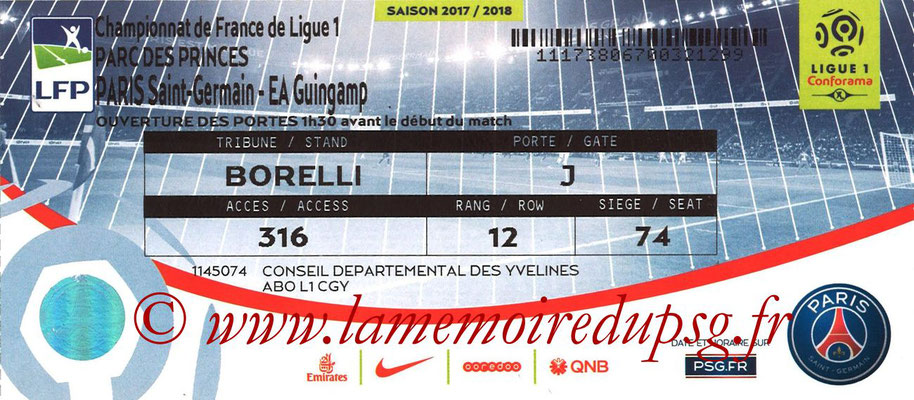 Tickets  PSG-Guingamp  2017-18