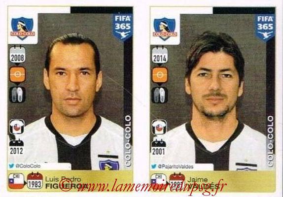 2015-16 - Panini FIFA 365 Stickers - N° 243-244 - Luis Pedro FIGUEROA + Jaime VALDES (Colo Colo)
