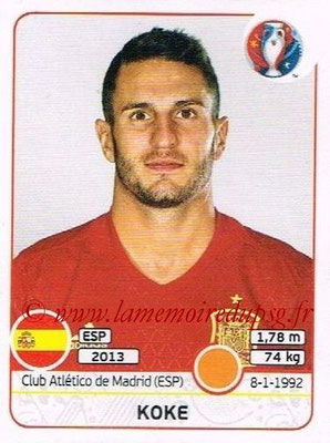 Panini Euro 2016 Stickers - N° 364 - KOKE (Espagne)