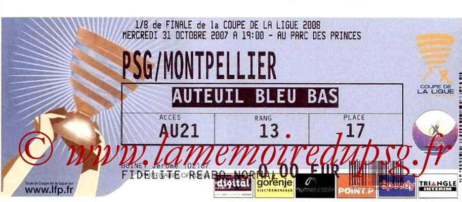 Tickets  PSG-Montpellier  2007-08