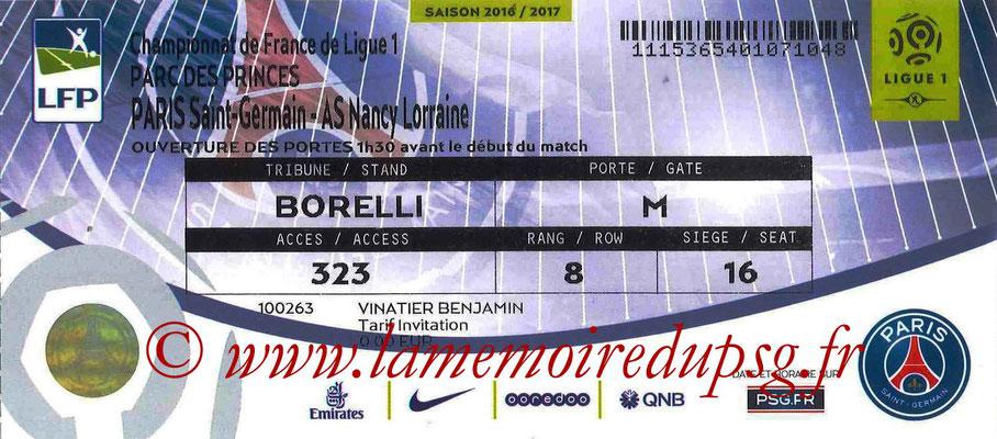 Tickets  PSG-Nancy  2016-17