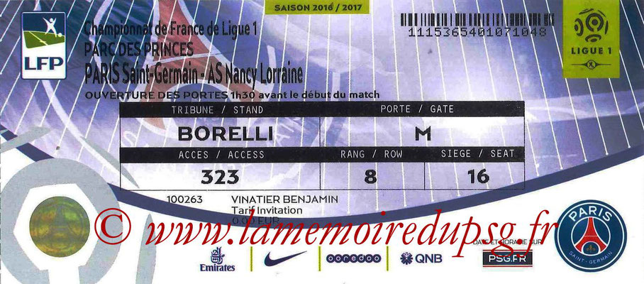 Tickets  PSG-Nancy  2016-17