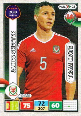 2018 - Panini Road to FIFA World Cup Russia Adrenalyn XL - N° WAL03 - James CHESTER (Pays de Galles)