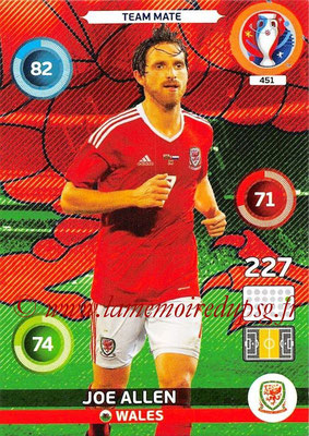 Panini Euro 2016 Cards - N° 451 - Joe ALLEN (Pays de Galles)