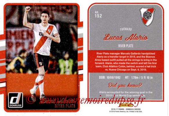 2016 - Panini Donruss Cards - N° 152 - Lucas ALARIO (River Plate)