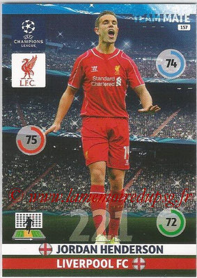 2014-15 - Adrenalyn XL champions League N° 157 - Jordan HENDERSON (Liverpool FC)