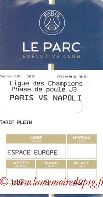 Tickets  PSG-Naples  2018-19