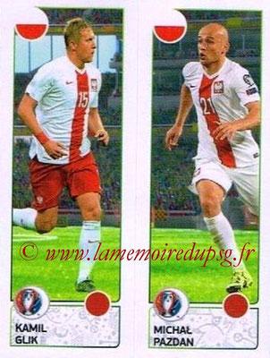 Panini Euro 2016 Stickers - N° 315 - Kamil GLIK + Michal PAZDAN (Pologne)