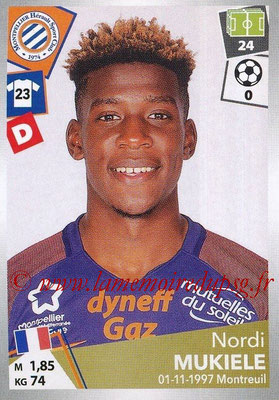 2017-18 - Panini Ligue 1 Stickers - N° 292 - Nordi MUKIELE (Montpellier)