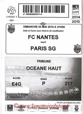 Tickets  Niantes-PSG  2014-15