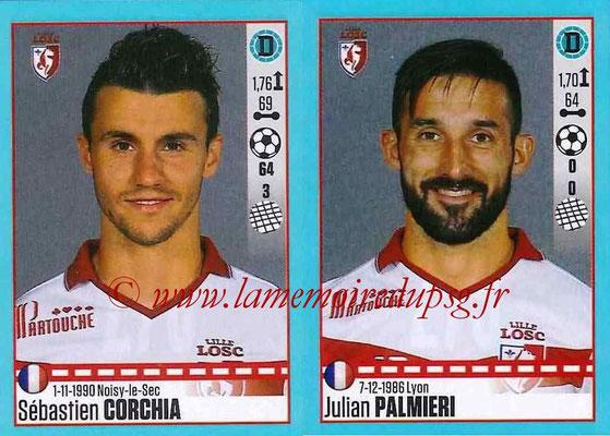 2016-17 - Panini Ligue 1 Stickers - N° 278 + 279 - Sébastien CORCHIA + Julian PALMIERII (Lille)