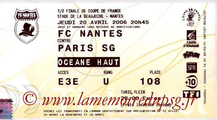 Tickets  Nantes-PSG  2005-06