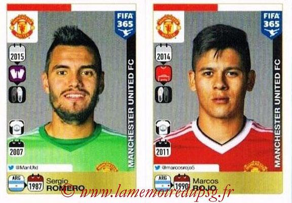 2015-16 - Panini FIFA 365 Stickers - N° 312-313 - Sergio ROMERO + Marcos ROJO (Manchester United FC)