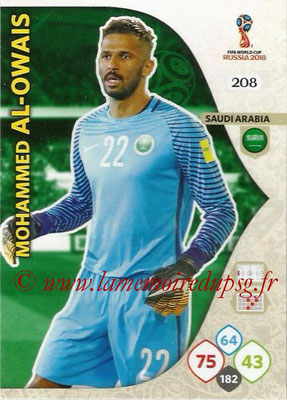 2018 - Panini FIFA World Cup Russia Adrenalyn XL - N° 208 - Mohammed AL-OWAIS (Arabie Saoudite)