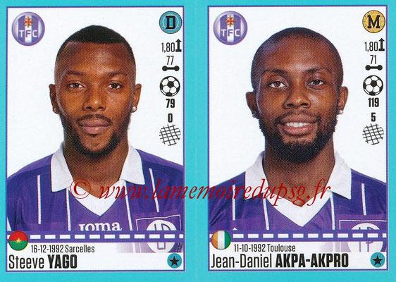 2016-17 - Panini Ligue 1 Stickers - N° 828 + 829 - Steeve YAGO + Jean-Daniel AKPA-AKPRO (Toulouse)
