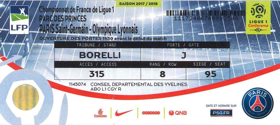 Tickets  PSG-Lyon  2017-18
