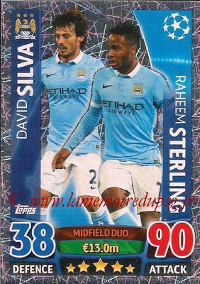 2015-16 - Topps UEFA Champions League Match Attax - N° 054 - David SILVA + Raheem STERLING (Manchester City FC) (Midfield Duo)