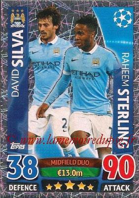 2015-16 - Topps UEFA Champions League Match Attax - N° 054 - David SILVA + Raheem STERLING (Manchester City FC) (Midfield Duo)