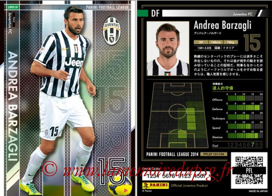 Panini Football League 2014 - PFL07 - N° 131 - Andrea BARZAGLI (Juventus FC) (Super DF)