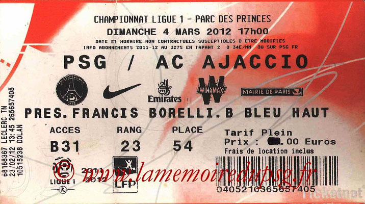 Tickets  PSG-AC Ajaccio  2011-12