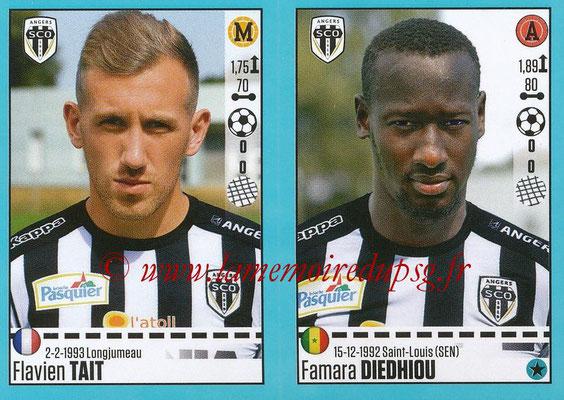 2016-17 - Panini Ligue 1 Stickers - N° 036 + 037 - Flavien TAIT + Famara DIEDHIOU (Angers)