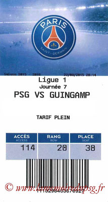 Tickets  PSG-Guingamp  2015-16