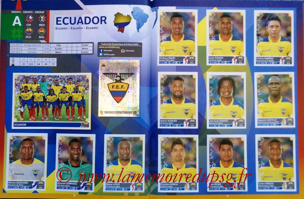 Panini Copa America Chile 2015 Stickers - Pages 10 et 11 - Equateur