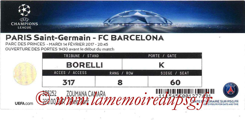 Tickets  PSG-Barcelone  2016-17