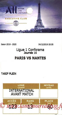 Tickets  PSG-Nantes  2019-20