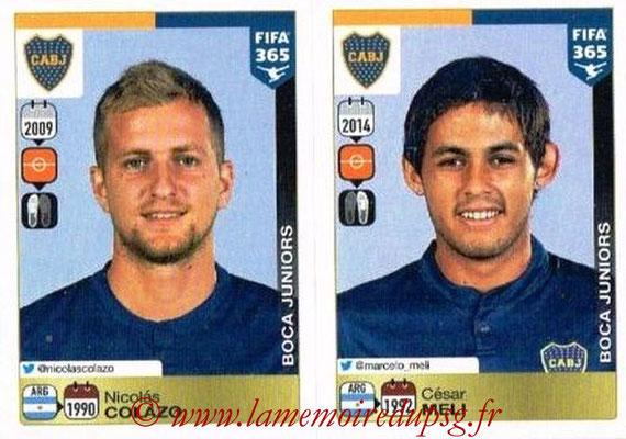 2015-16 - Panini FIFA 365 Stickers - N° 078-079 - Nicolas COLAZO + César MELI (CA Boca Juniors)