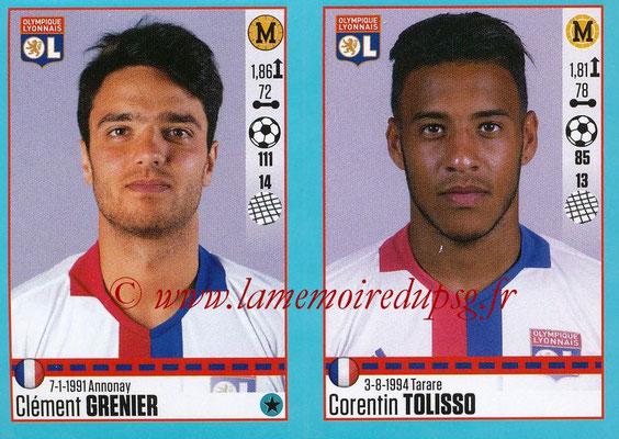 2016-17 - Panini Ligue 1 Stickers - N° 370 + 371 - Clément GRENIER + Corentin TOLISSO (Lyon)