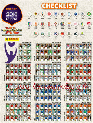 2018 - Panini Road to FIFA World Cup Russia Adrenalyn XL - Check list 1