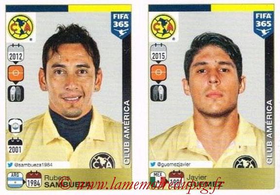 2015-16 - Panini FIFA 365 Stickers - N° 622-626 - Rubens SAMBUEZA + Javier GÜEMEZ (Club America)