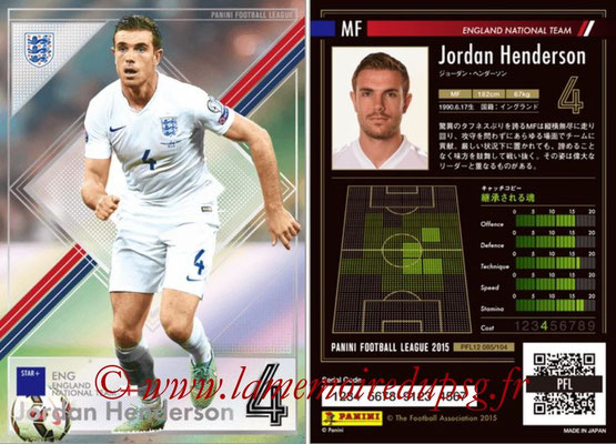 Panini Football League 2015 - PFL12 - N° 085 - Jordan HENDERSON (Angleterre) (Star +)