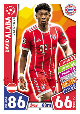 2017-18 - Topps UEFA Champions League Match Attax - N° 058 - David ALABA (FC Bayern Munich)