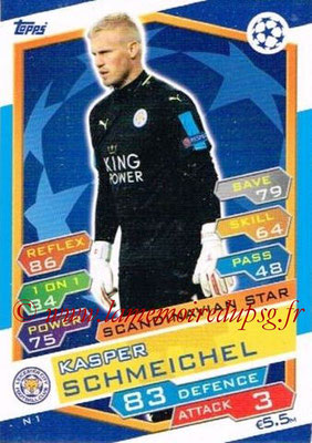 2016-17 - Topps UEFA Champions League Match Attax - N° N1 - Kasper SCHMEICHEL (Leicester City FC) (Scandinavian Star) (Nordic Edition)