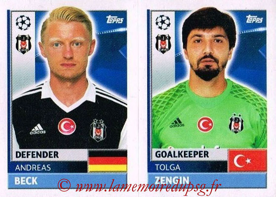 2016-17 - Topps UEFA Champions League Stickers - N° BES 4-5 - Tolga ZENGIN + Andreas BECK (Besiktas JK)